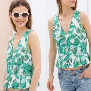 [Zara] tropical print peplum cropped top #R08